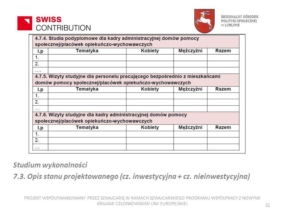 REGIONALNY OŚRODEKPOLITYKI SPOŁECZNEJ. w LUBLINIE. Studium wykonalności. 7.3. Opis stanu projektowanego (cz. inwestycyjna + cz. nieinwestycyjna)