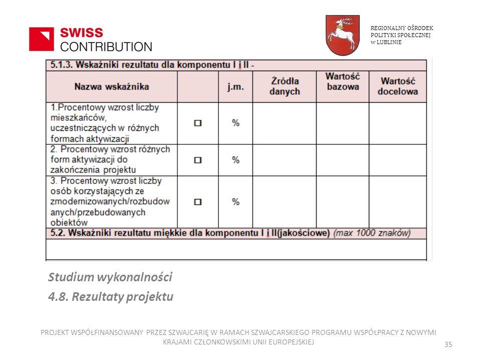 Studium wykonalności 4.8. Rezultaty projektu