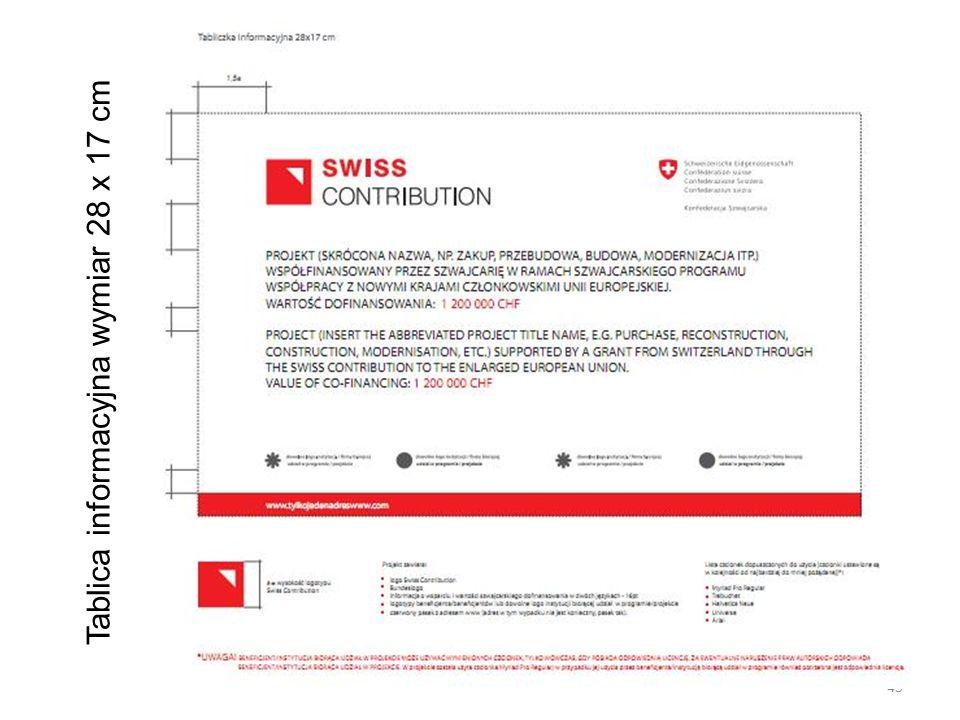 Tablica informacyjna wymiar 28 x 17 cm