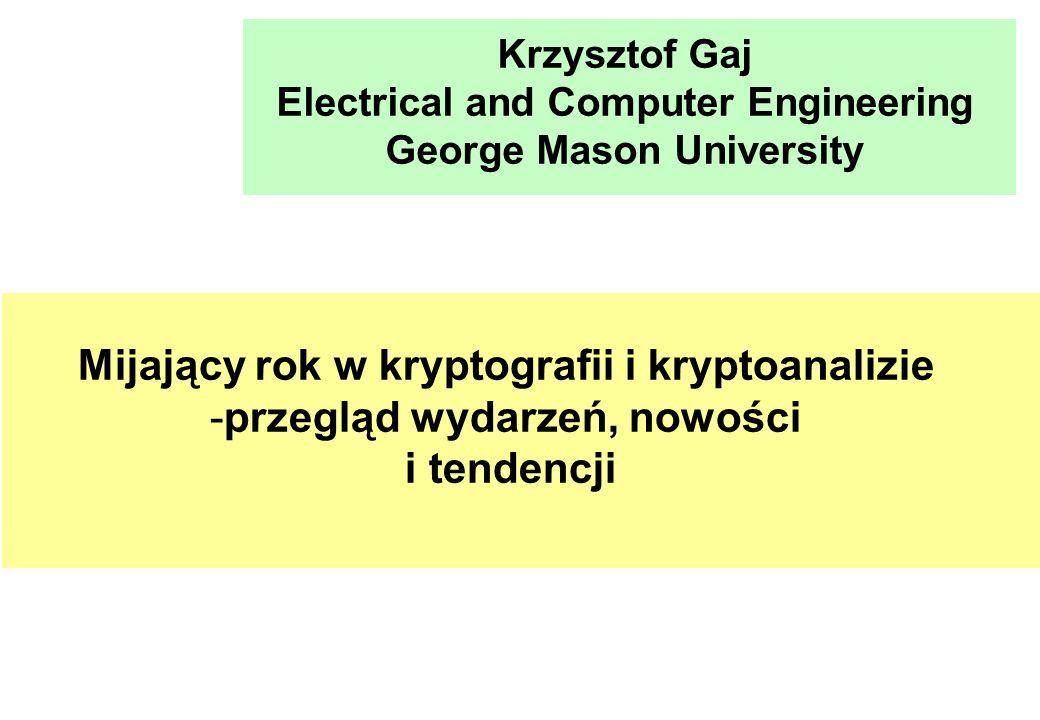 Mijający rok w kryptografii i kryptoanalizie