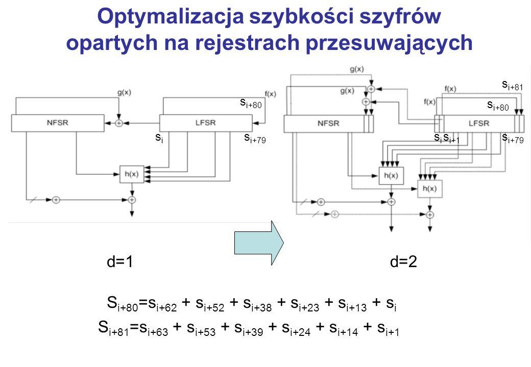 Optymalizacja szybkości szyfrów opartych na rejestrach przesuwających