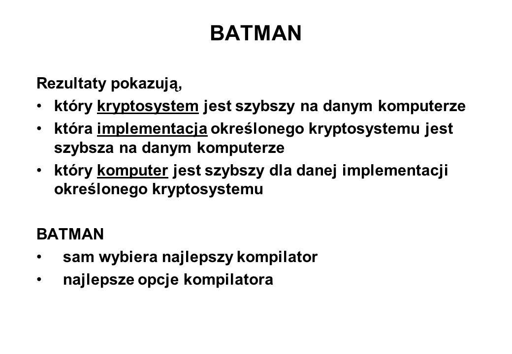 BATMAN Rezultaty pokazują,