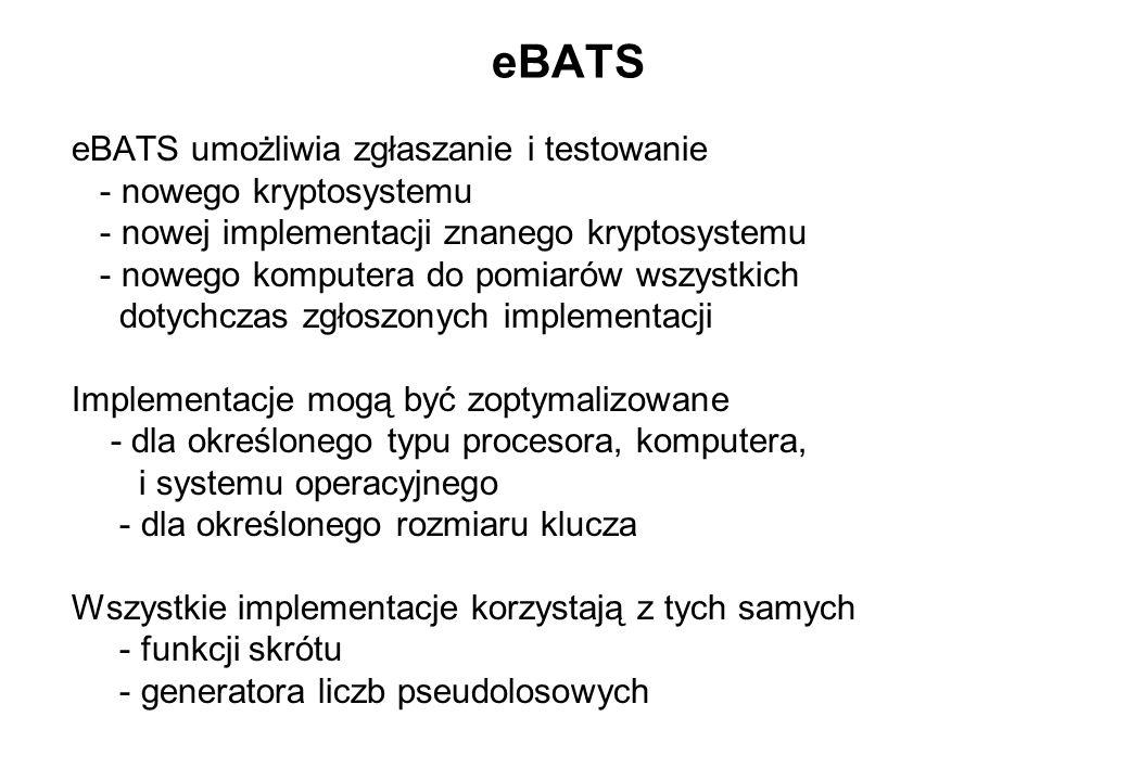 eBATS eBATS umożliwia zgłaszanie i testowanie - nowego kryptosystemu