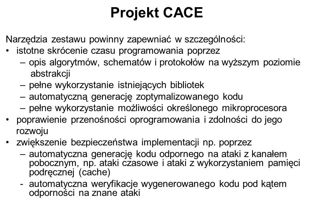 Projekt CACE Narzędzia zestawu powinny zapewniać w szczególności: