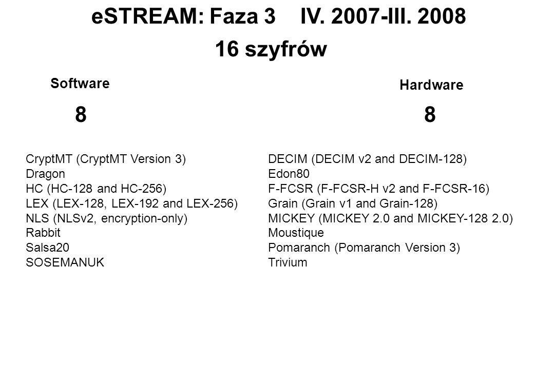 eSTREAM: Faza 3 IV. 2007-III. 2008 16 szyfrów 8 8 Software Hardware