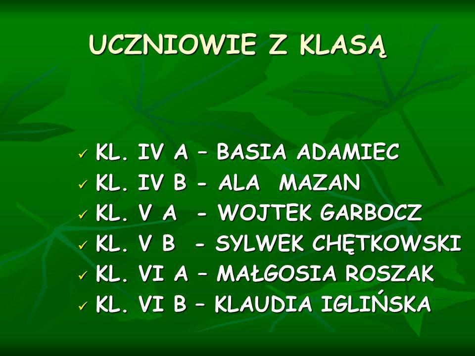 UCZNIOWIE Z KLASĄ KL. IV A – BASIA ADAMIEC KL. IV B - ALA MAZAN