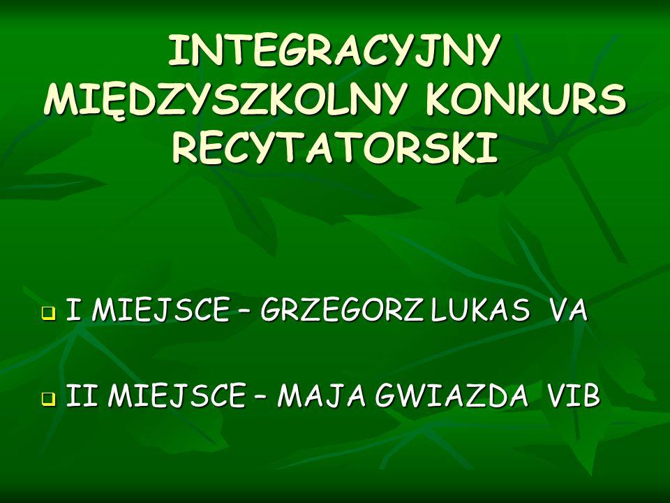 INTEGRACYJNY MIĘDZYSZKOLNY KONKURS RECYTATORSKI