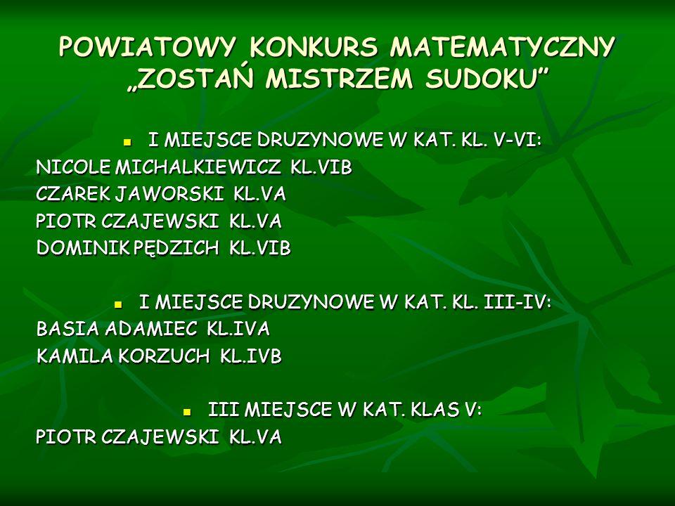 """POWIATOWY KONKURS MATEMATYCZNY """"ZOSTAŃ MISTRZEM SUDOKU"""