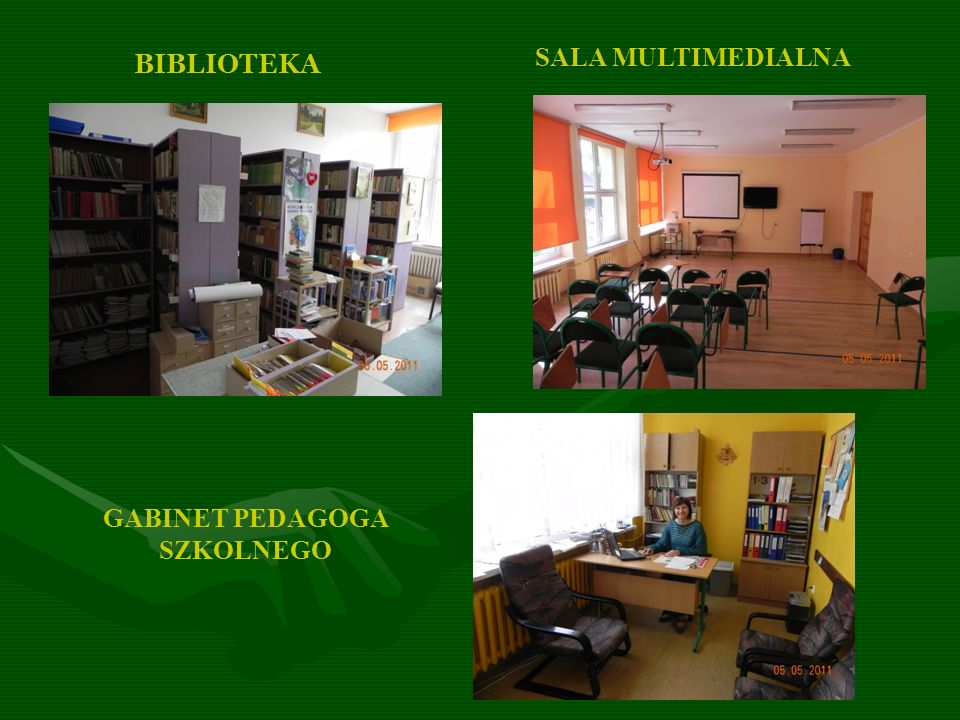 SALA MULTIMEDIALNA BIBLIOTEKA GABINET PEDAGOGA SZKOLNEGO