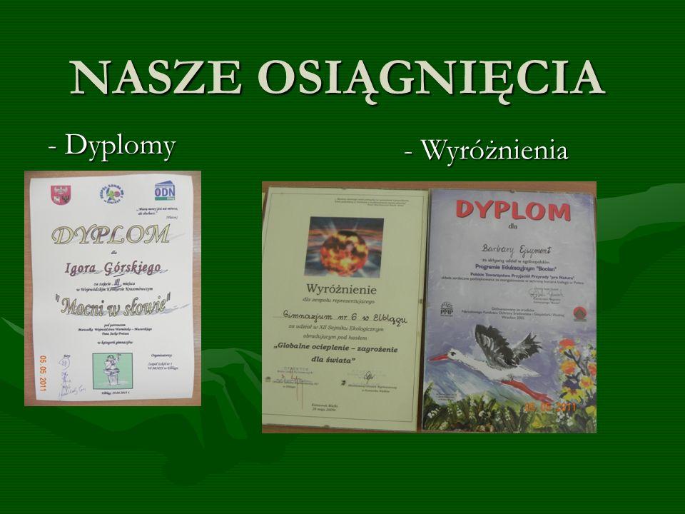 NASZE OSIĄGNIĘCIA - Dyplomy - Wyróżnienia
