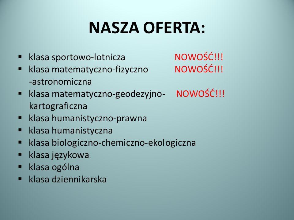 NASZA OFERTA: klasa sportowo-lotnicza NOWOŚĆ!!!