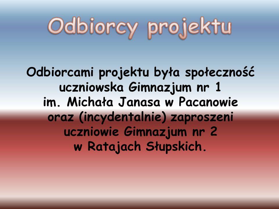 Odbiorcy projektu Odbiorcami projektu była społeczność uczniowska Gimnazjum nr 1. im. Michała Janasa w Pacanowie.