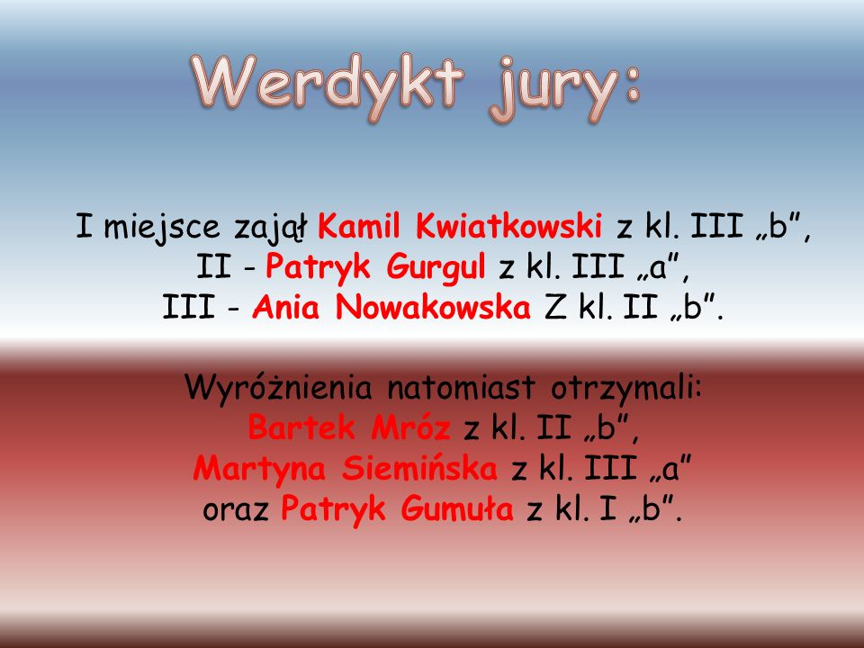 """Werdykt jury: I miejsce zajął Kamil Kwiatkowski z kl. III """"b ,"""