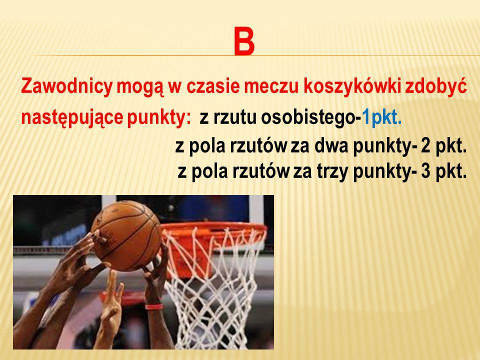 Zawodnicy mogą w czasie meczu koszykówki zdobyć