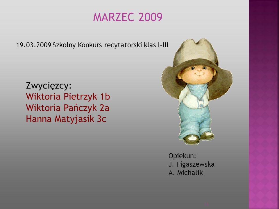 MARZEC 2009 Zwycięzcy: Wiktoria Pietrzyk 1b Wiktoria Pańczyk 2a
