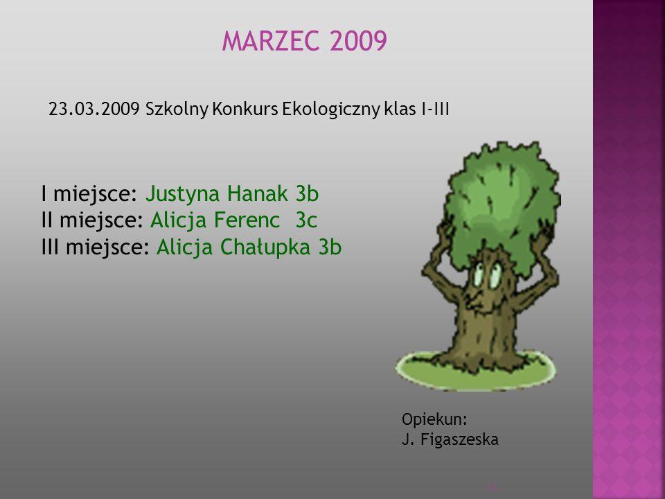 MARZEC 2009 I miejsce: Justyna Hanak 3b II miejsce: Alicja Ferenc 3c