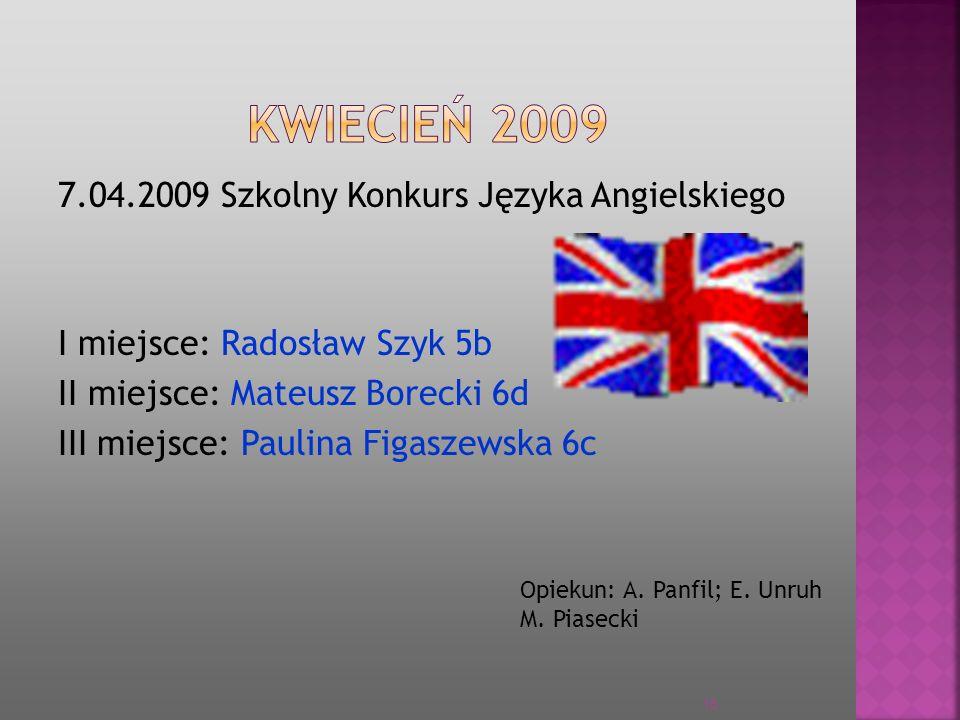 KWIECIEŃ 2009