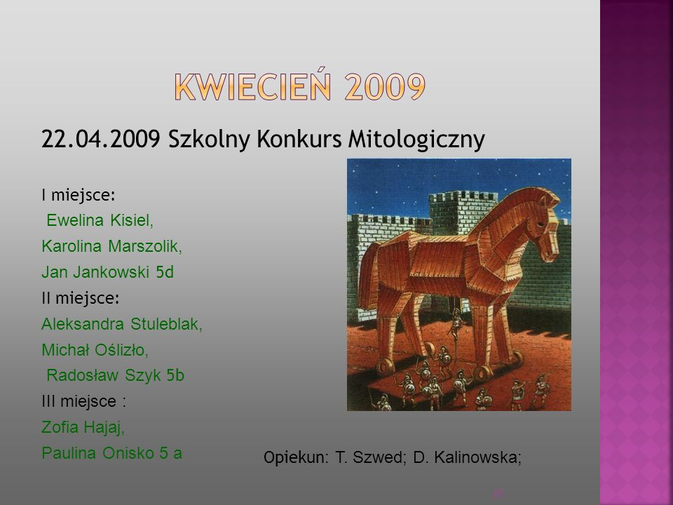 KWIECIEŃ 2009 22.04.2009 Szkolny Konkurs Mitologiczny I miejsce: