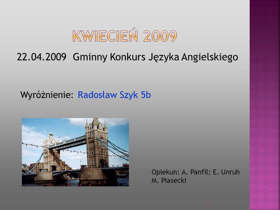 KWIECIEŃ 2009 22.04.2009 Gminny Konkurs Języka Angielskiego