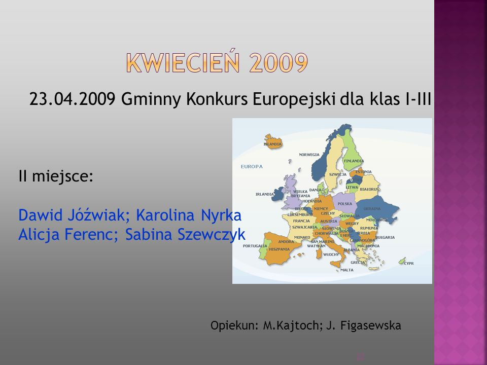 KWIECIEŃ 2009 23.04.2009 Gminny Konkurs Europejski dla klas I-III
