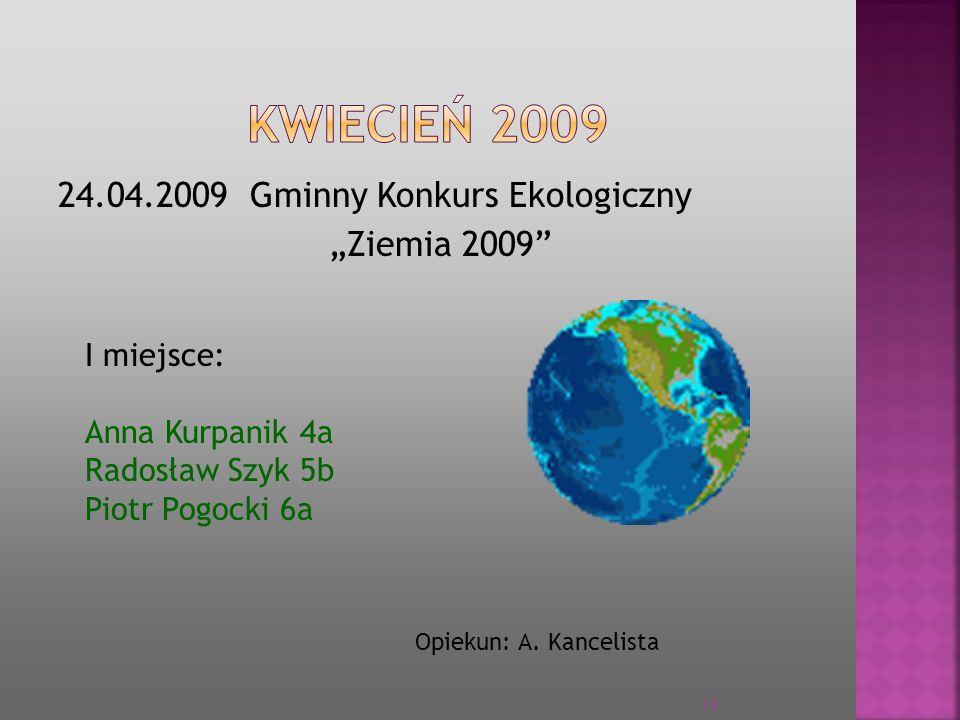 """KWIECIEŃ 2009 24.04.2009 Gminny Konkurs Ekologiczny """"Ziemia 2009"""