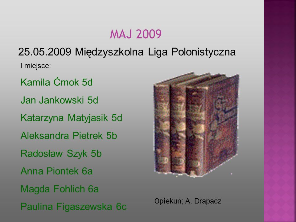MAJ 2009 25.05.2009 Międzyszkolna Liga Polonistyczna Kamila Ćmok 5d