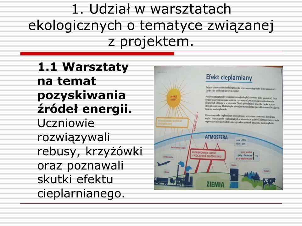 1. Udział w warsztatach ekologicznych o tematyce związanej z projektem.