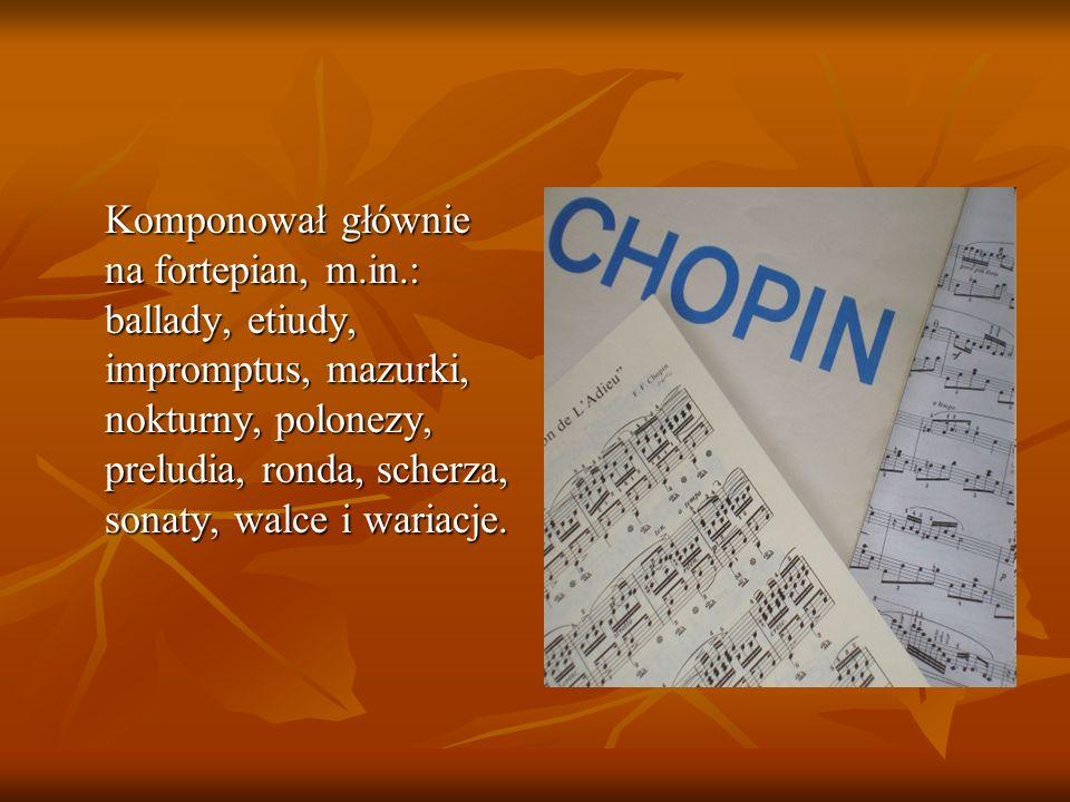 Komponował głównie na fortepian, m. in