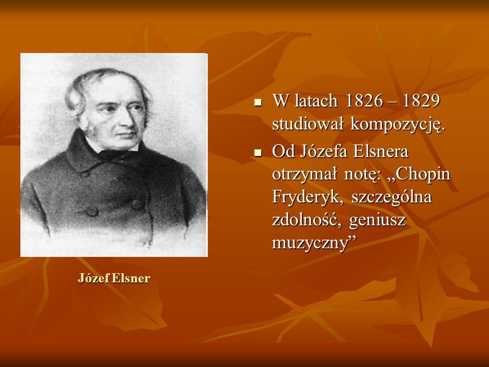 W latach 1826 – 1829 studiował kompozycję.