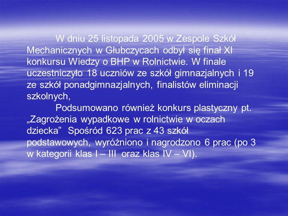 W dniu 25 listopada 2005 w Zespole Szkół Mechanicznych w Głubczycach odbył się finał XI konkursu Wiedzy o BHP w Rolnictwie. W finale uczestniczyło 18 uczniów ze szkół gimnazjalnych i 19 ze szkół ponadgimnazjalnych, finalistów eliminacji szkolnych,