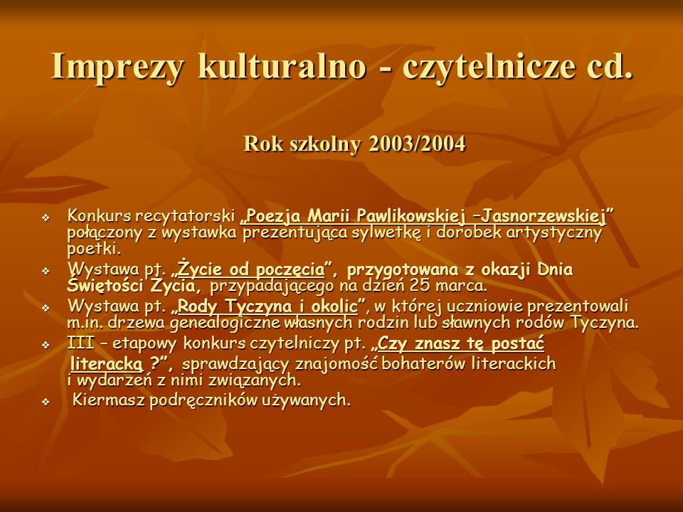 Imprezy kulturalno - czytelnicze cd.