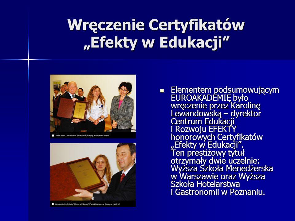 """Wręczenie Certyfikatów """"Efekty w Edukacji"""