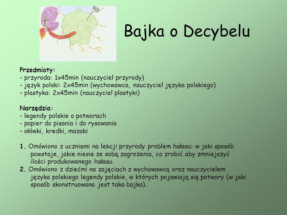 Bajka o Decybelu Przedmioty: - przyroda: 1x45min (nauczyciel przyrody)