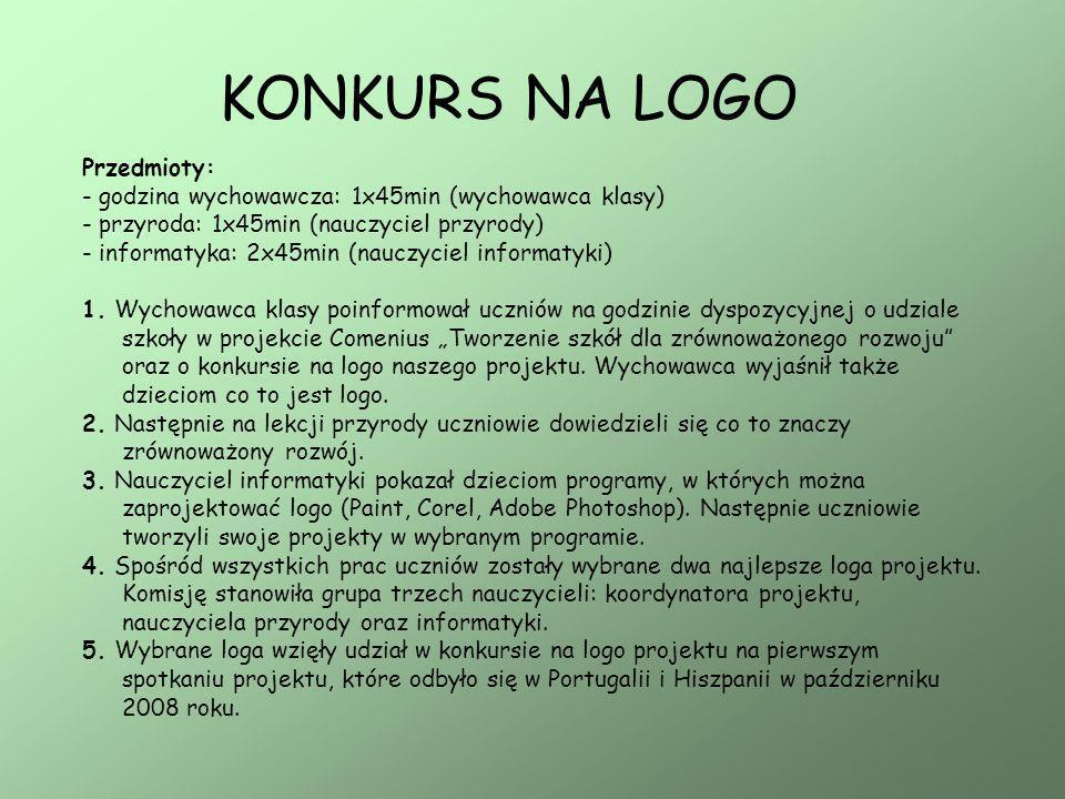 KONKURS NA LOGO Przedmioty: