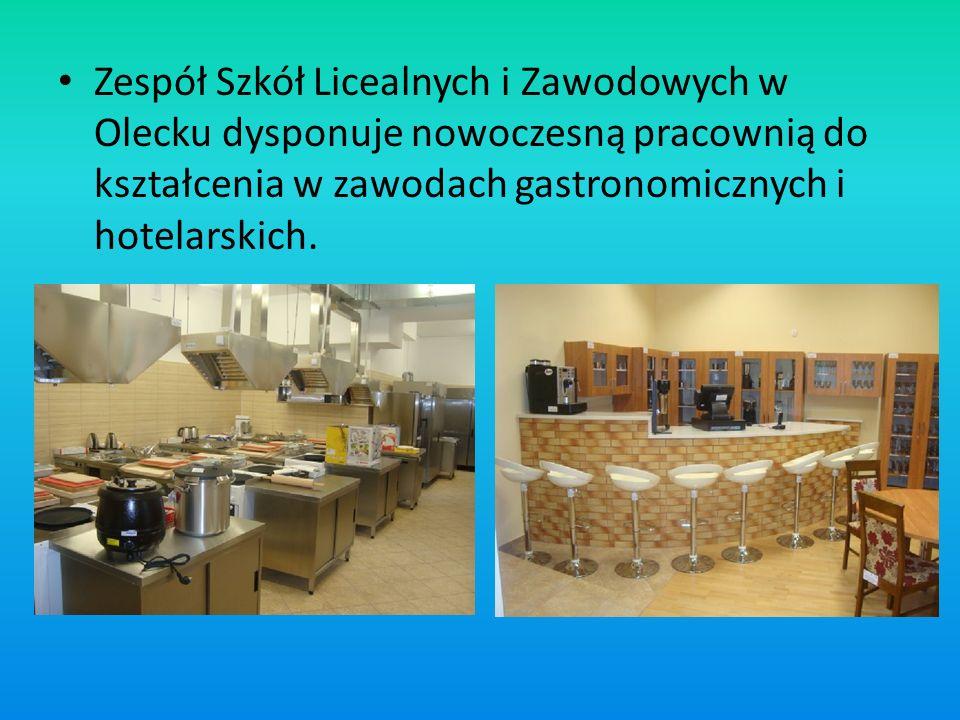Zespół Szkół Licealnych i Zawodowych w Olecku dysponuje nowoczesną pracownią do kształcenia w zawodach gastronomicznych i hotelarskich.