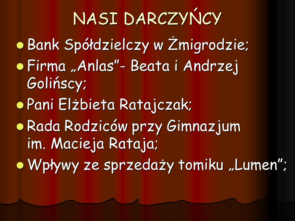 NASI DARCZYŃCY Bank Spółdzielczy w Żmigrodzie;