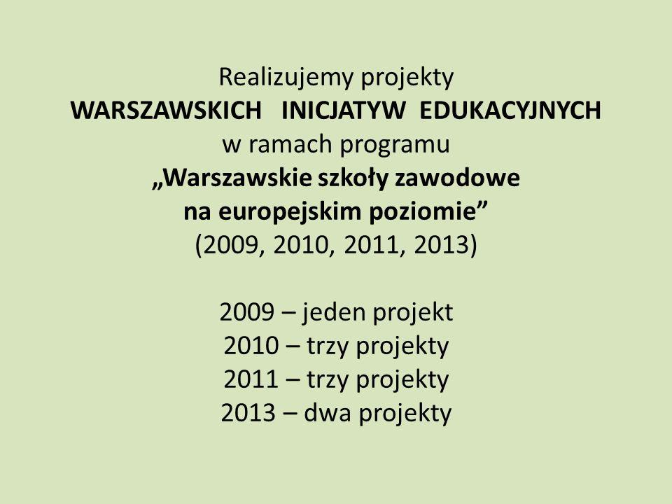 """""""Warszawskie szkoły zawodowe na europejskim poziomie"""