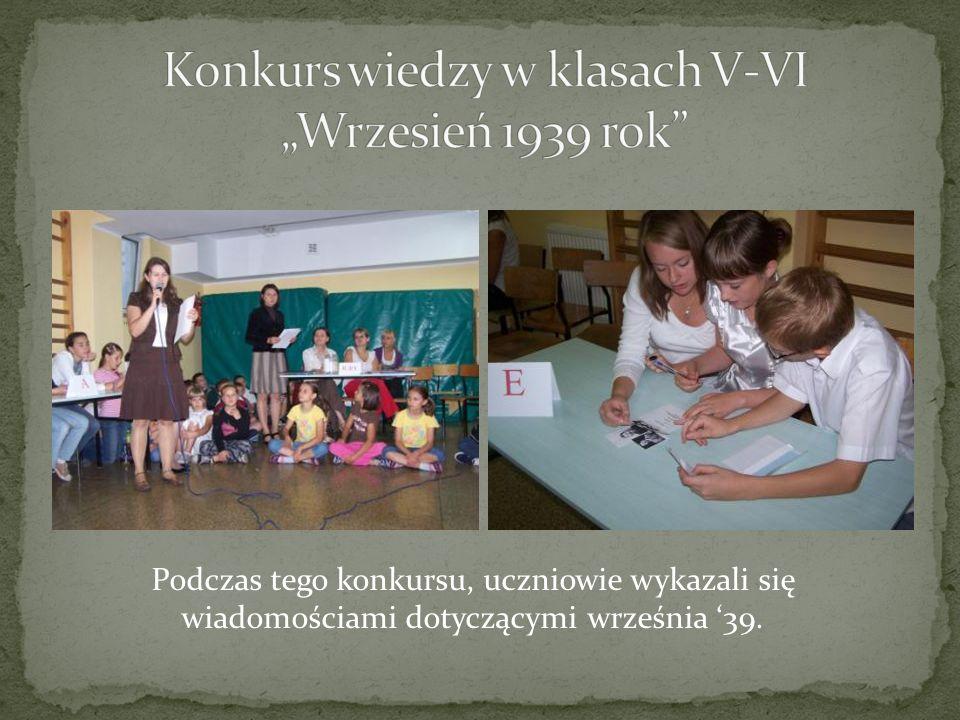 """Konkurs wiedzy w klasach V-VI """"Wrzesień 1939 rok"""