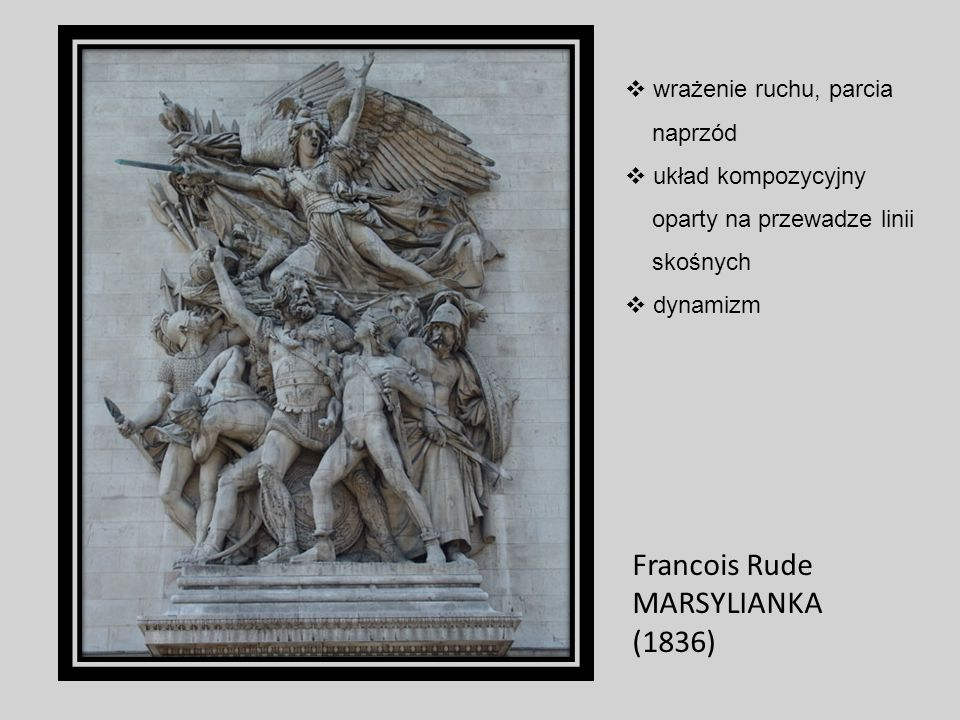 Francois Rude MARSYLIANKA (1836) wrażenie ruchu, parcia naprzód