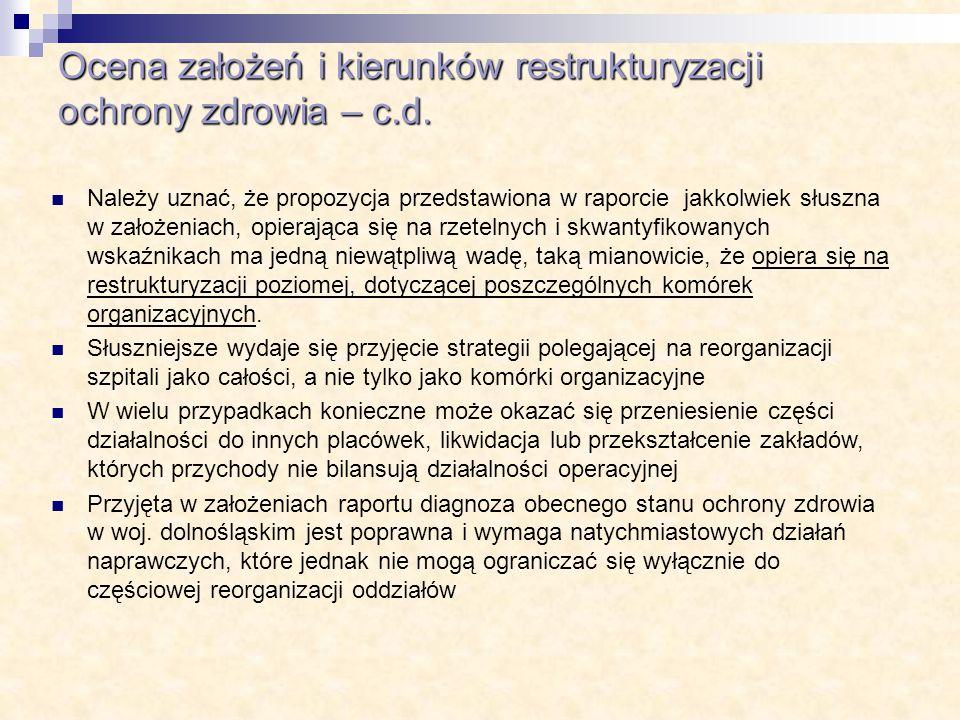 Ocena założeń i kierunków restrukturyzacji ochrony zdrowia – c.d.