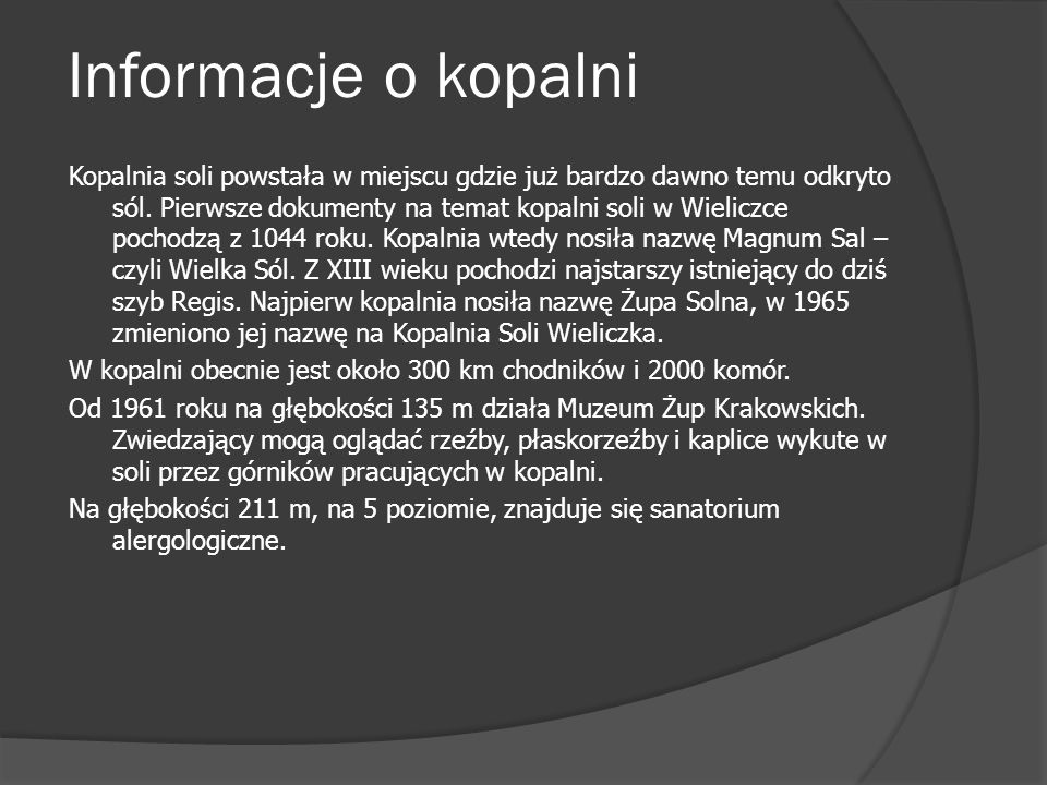 Informacje o kopalni