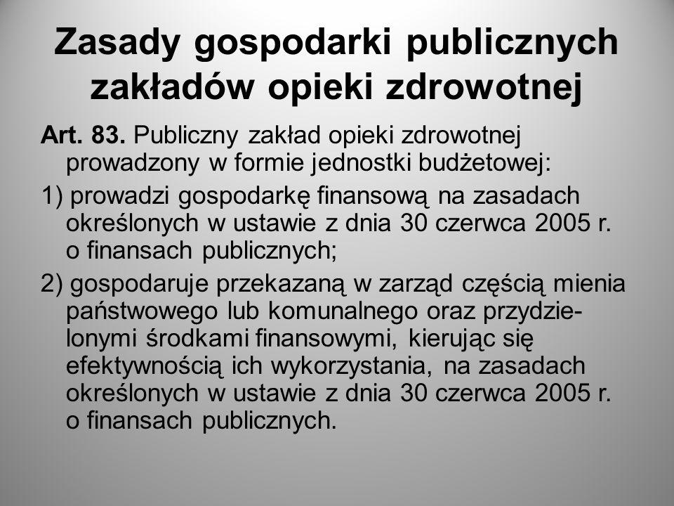 Zasady gospodarki publicznych zakładów opieki zdrowotnej