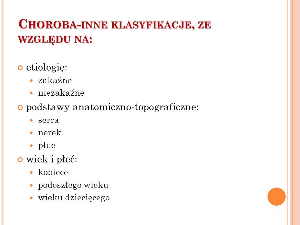 Choroba-inne klasyfikacje, ze względu na:
