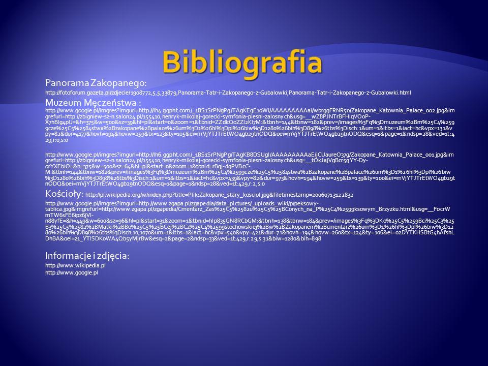 Bibliografia Panorama Zakopanego: