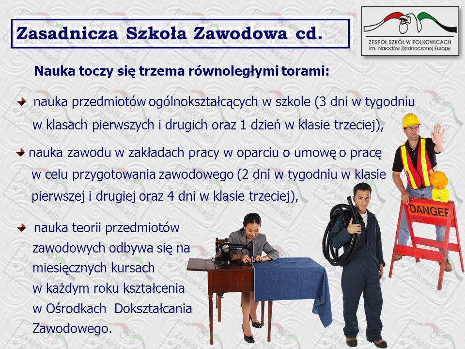 Zasadnicza Szkoła Zawodowa cd.