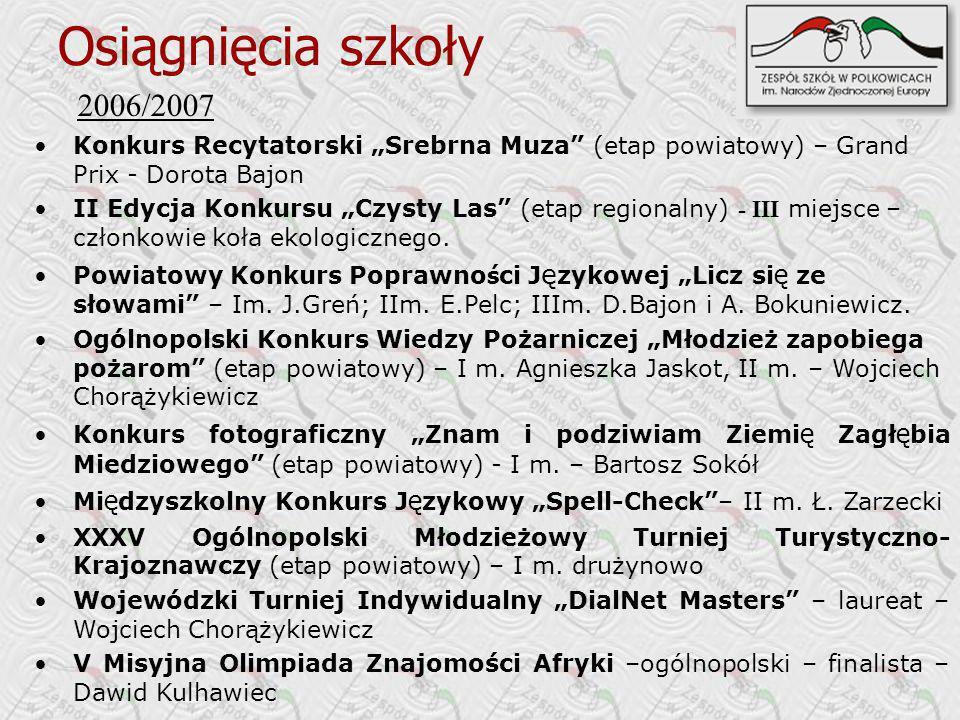 """Osiągnięcia szkoły 2006/2007. Konkurs Recytatorski """"Srebrna Muza (etap powiatowy) – Grand Prix - Dorota Bajon."""