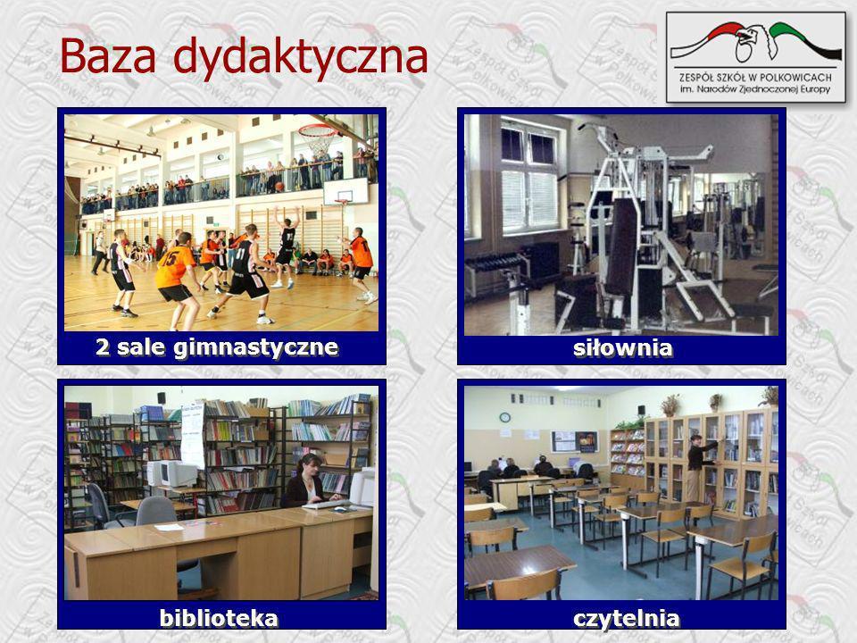 Baza dydaktyczna 2 sale gimnastyczne siłownia biblioteka czytelnia