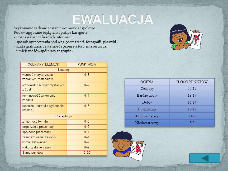 EWALUACJA Wykonanie zadanie zostanie ocenione zespołowo. Pod uwagę brane będą następujące kategorie: