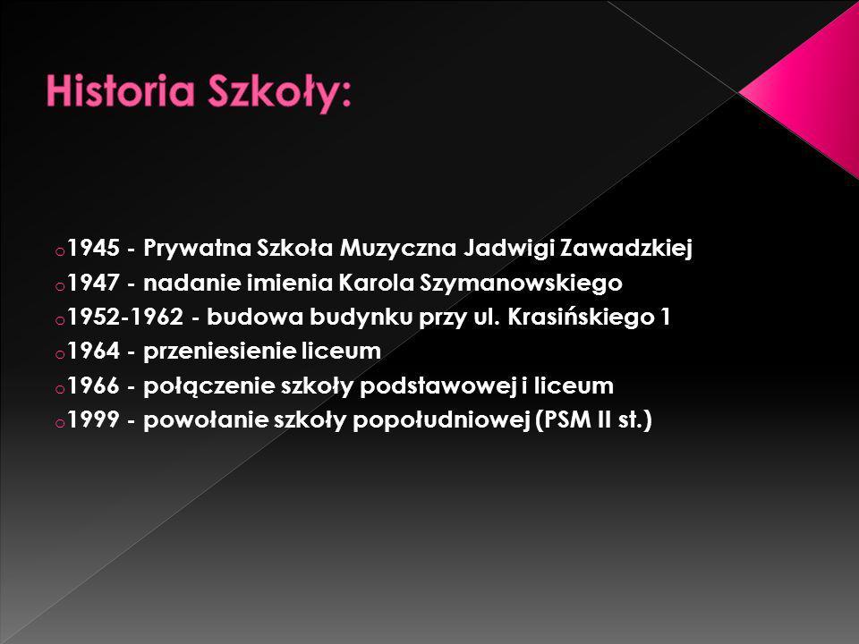 Historia Szkoły: 1945 - Prywatna Szkoła Muzyczna Jadwigi Zawadzkiej