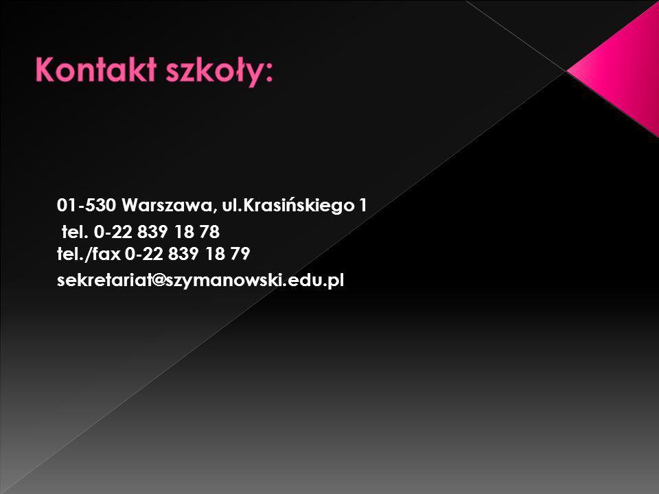 Kontakt szkoły: 01-530 Warszawa, ul.Krasińskiego 1